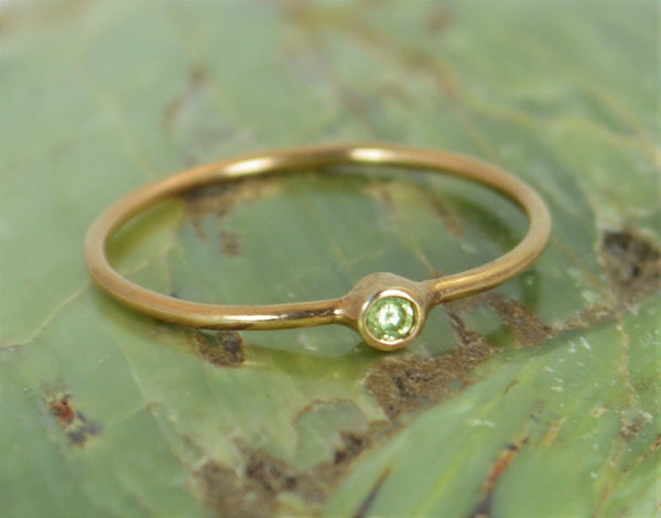 Tiny Rose Gold Peridot Ring