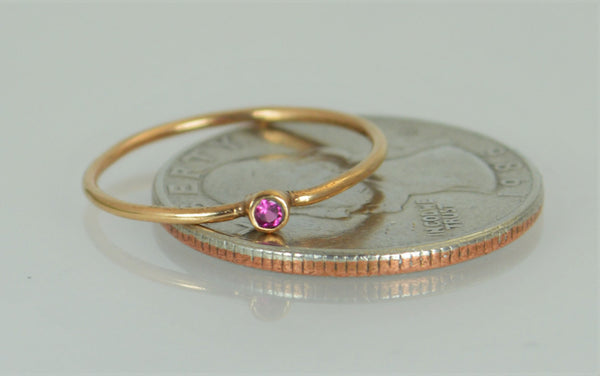 Tiny Rose Gold Ruby Ring