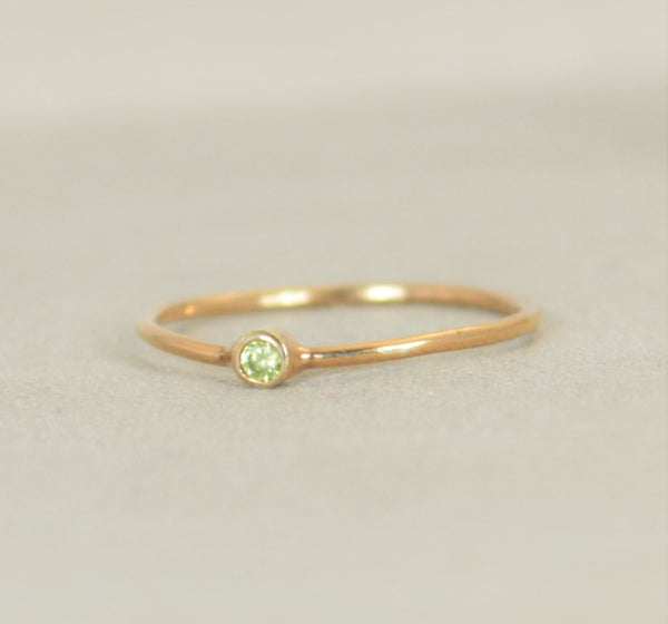 Tiny Rose Gold Filled Peridot Ring