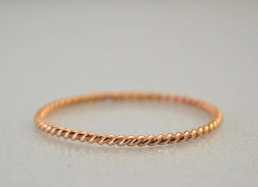 Thin Twist Solid 14k Rose Gold Stacking Ring