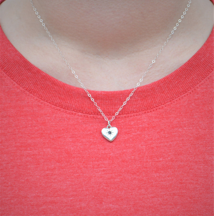 Aquamarine Heart Pendant Necklace