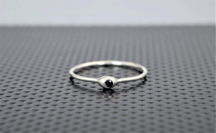 Dainty Silver Dew Drop Black Spinel Mother's Ring