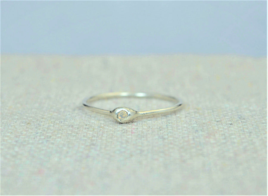 Dainty Silver Opal Dew Drop Mother's Ring