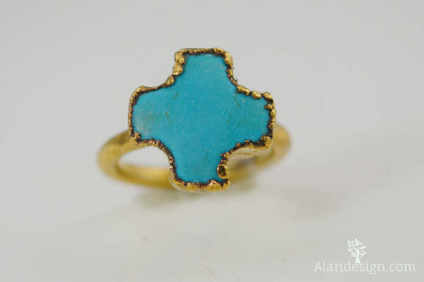 Turquoise Cross Gold Ring