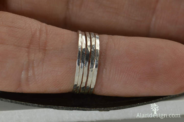Set of 15 Super Thin Pure Silver Stackable Rings