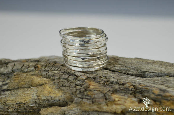 Set of 15 Thin .999 Pure Silver Stackable Rings