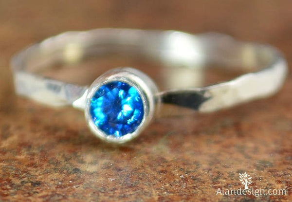 Small Blue Zircon RIng