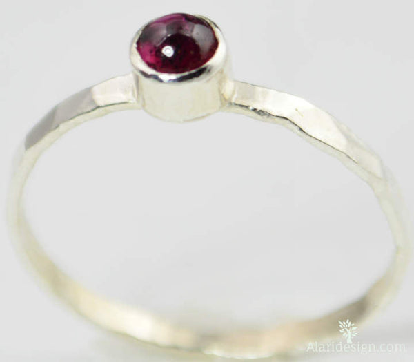 Small Natural Garnet Ring