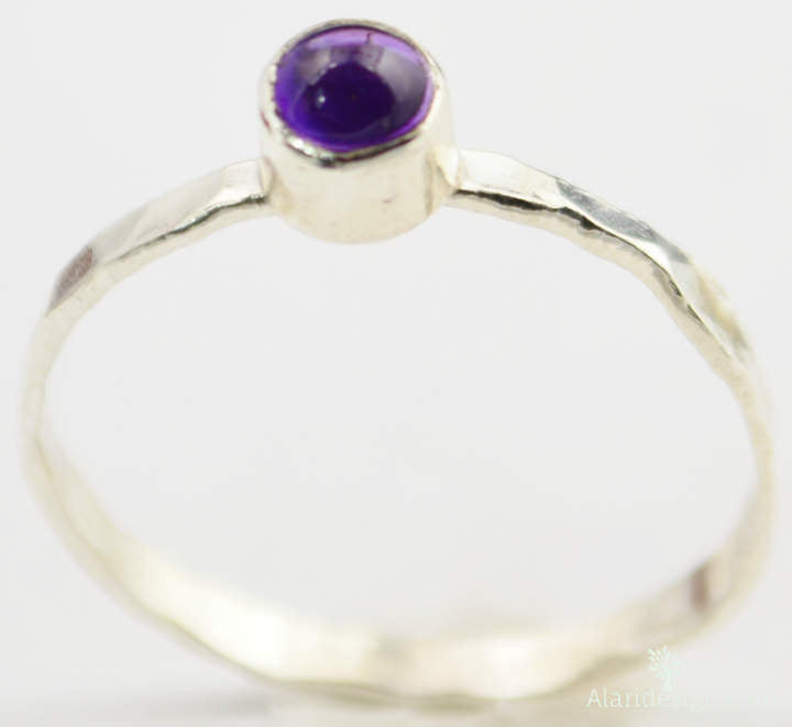 Small Silver Amethyst Ring