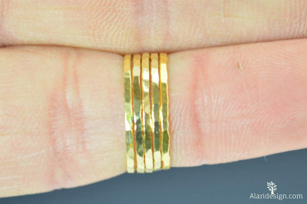Super Thin Golden Silver Stackable Rings