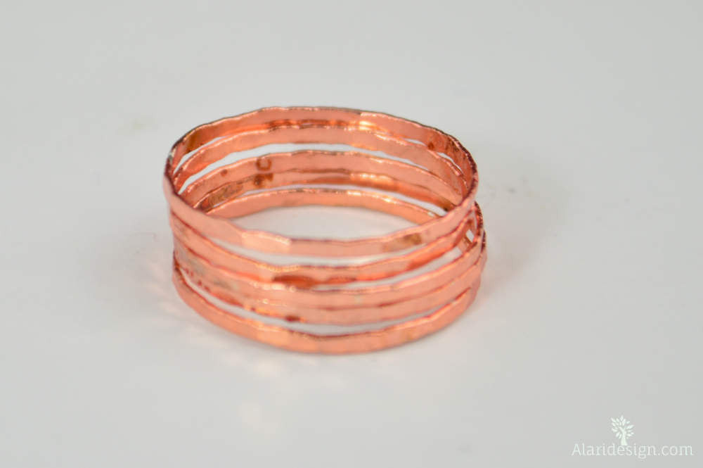 Super Thin Rose Silver Stackable Rings