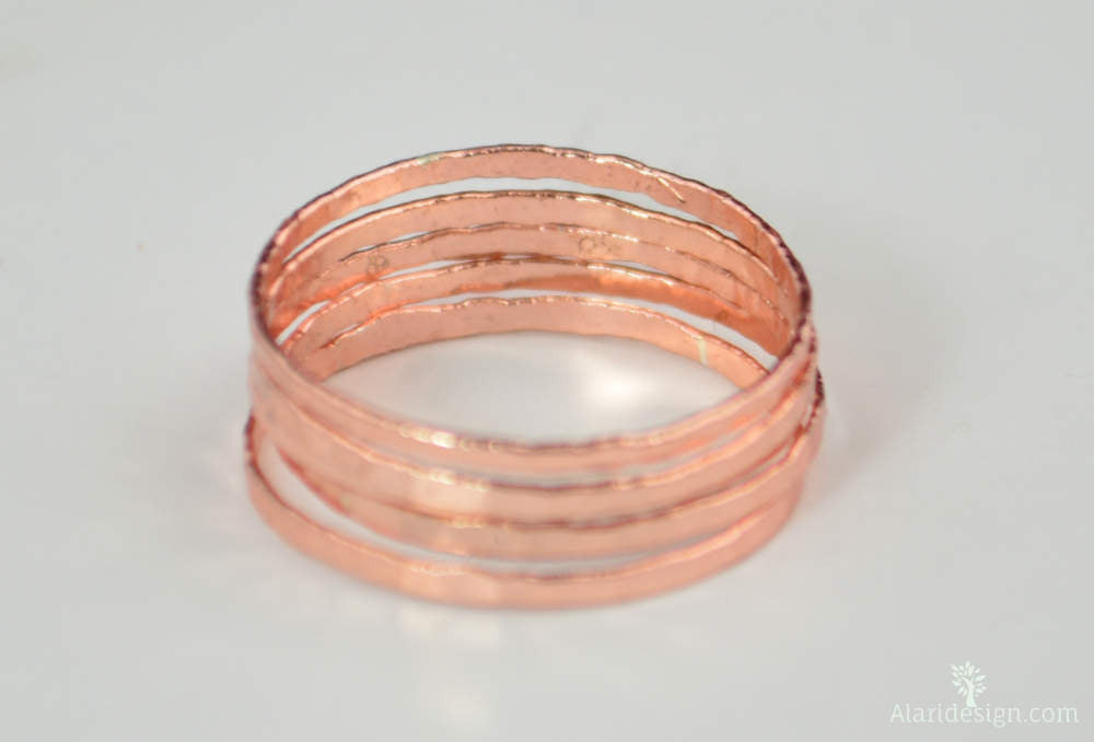 Super Thin Lt. Rose Silver Stackable Rings