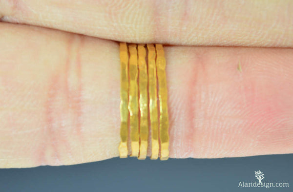Set of 5 Gold Vermeil Stacking Rings