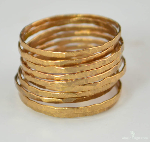 Set of 10 Rose Gold Vermeil Stacking Rings