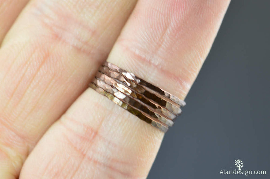 Super Thin Bronze Copper Stackable Rings