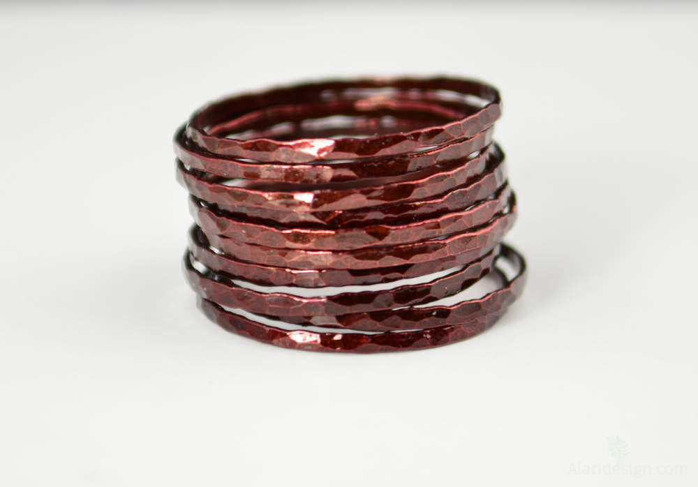Super Thin Cherry Copper Stackable Rings