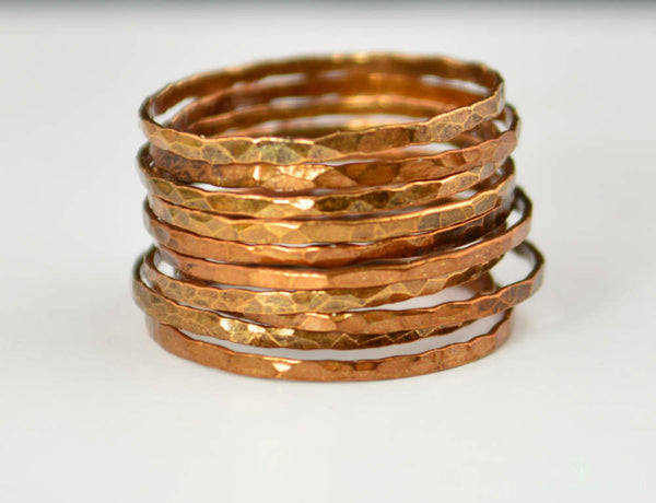 Super Thin Golden Copper Stackable Rings