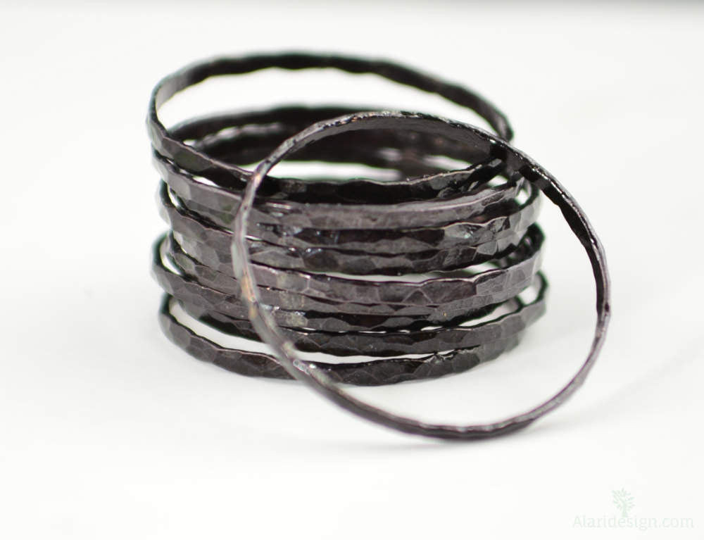 Super Thin Black Copper Stackable Rings