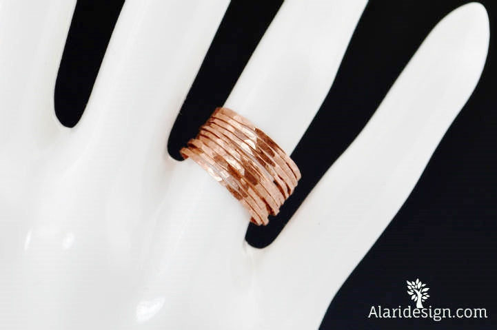 Set of 10 Super Thin Copper Stackable Rings