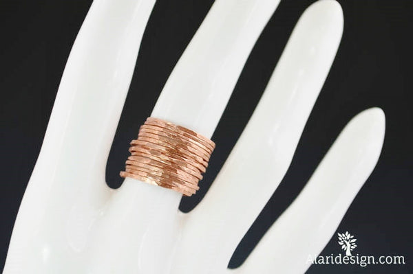 Set of 15 Super Thin Copper Stackable Rings