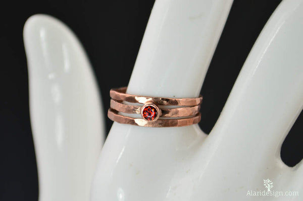 Classic Copper Garnet Ring