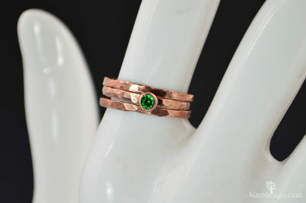 Classic Copper Emerald Ring