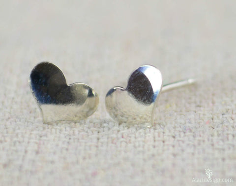 Small Silver Heart Earrings