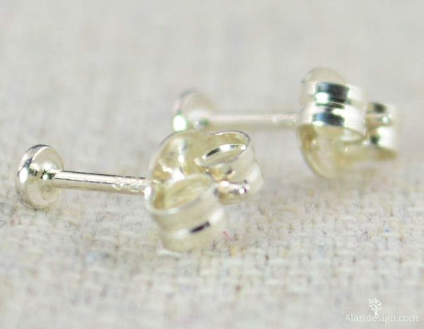 Tiny Silver Dot Earrings