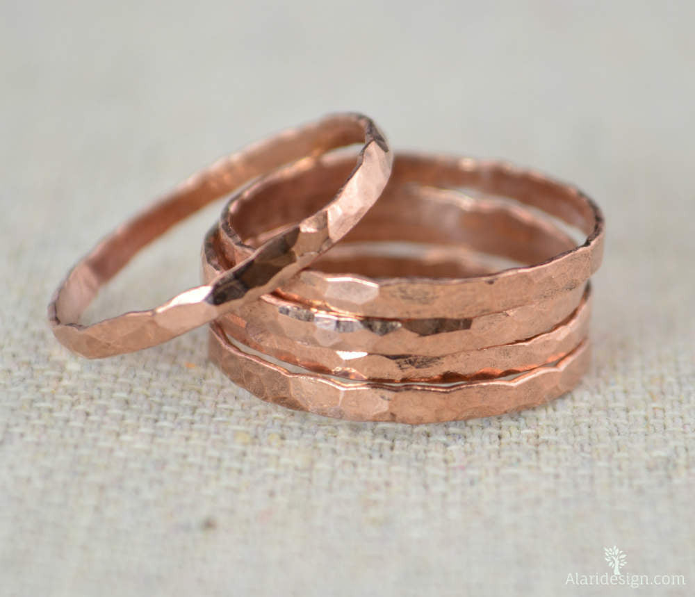 Thick Stackable Copper Rings