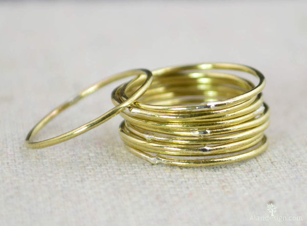 Thin Round Brass Stacking Rings
