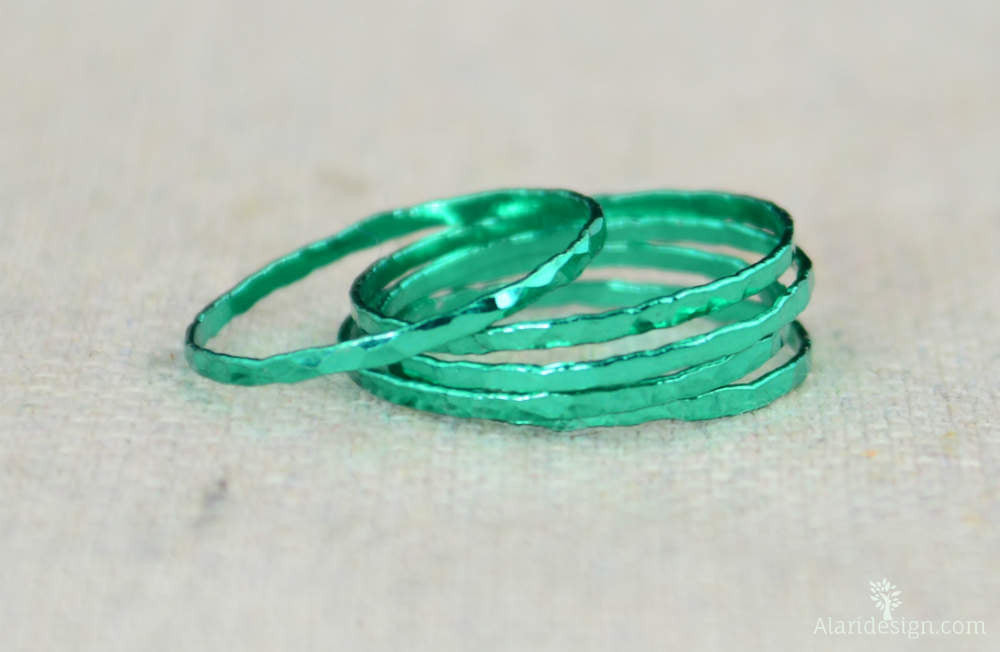 Super Thin Emerald Silver Stackable Rings