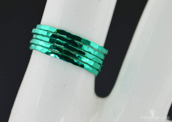 Set of 5 Super Thin Emerald Silver Stackable Rings