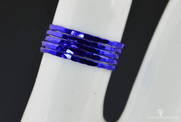 Super Thin Blue Silver Stackable Ring