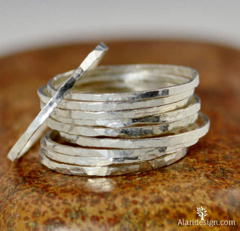 Super Thin Pure Silver Stackable Rings