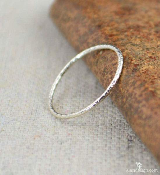 Thin Round Faceted Sterling Rings