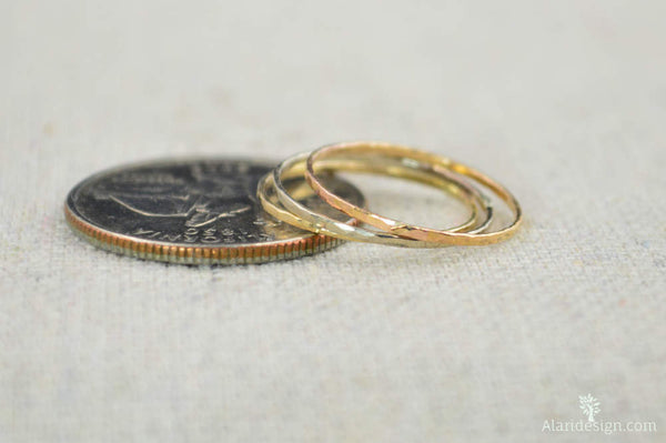 Solid 14K White Rose & Yellow Gold Super Thin Stacking Ring Set