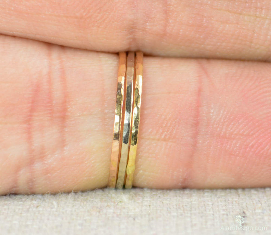 Solid 14K Yellow Gold Super Thin Stacking Ring