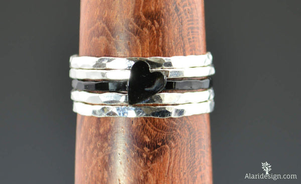 Sterling Silver Black Heart Ring