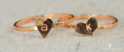 Golden Rose Heart Ring