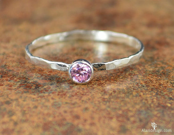 Dainty Silver Pink Tourmaline Ring