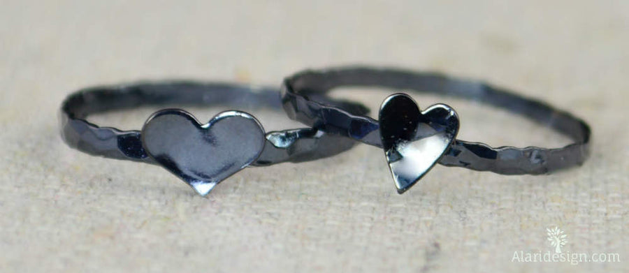Tiny Silver Gunmetal Heart Ring