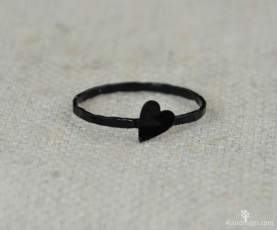 Tiny Black Silver Heart Ring