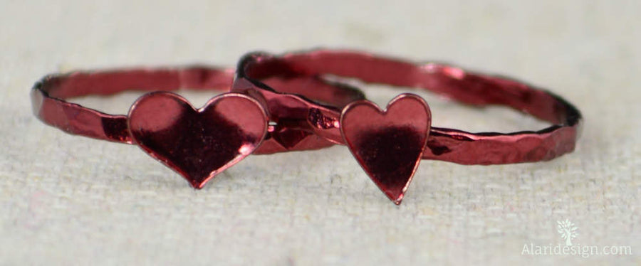 Tiny Red Silver Heart Ring