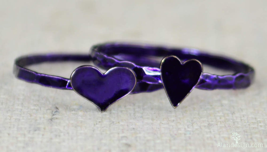Tiny Silver Purple Heart Ring