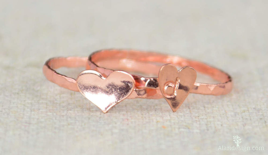 Tiny Rose Silver Heart Ring