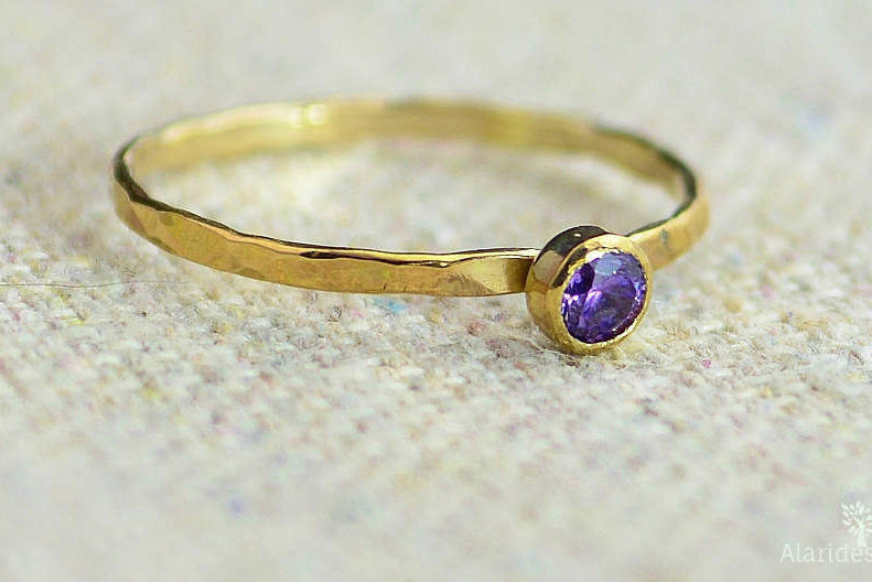 Dainty Gold Filled Amethyst Ring