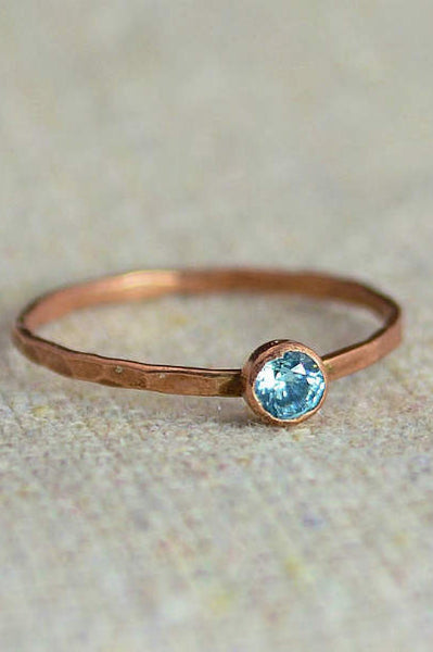 Dainty Copper Aquamarine Ring