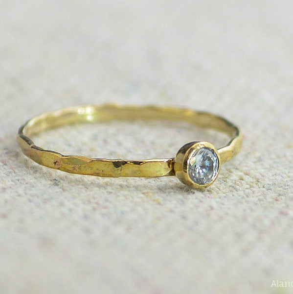 Dainty Gold Filled CZ Diamond Ring