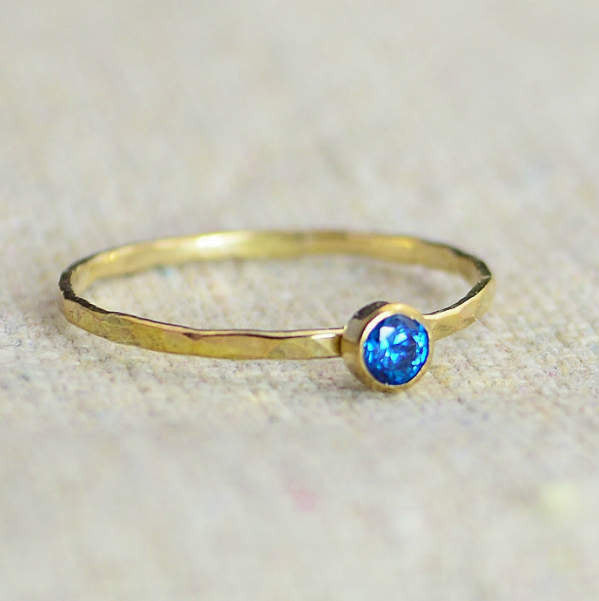 Dainty Gold Filled Blue Zircon Ring