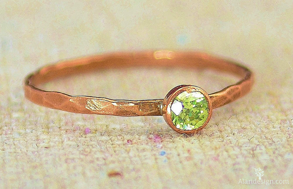 Dainty Copper Peridot Ring